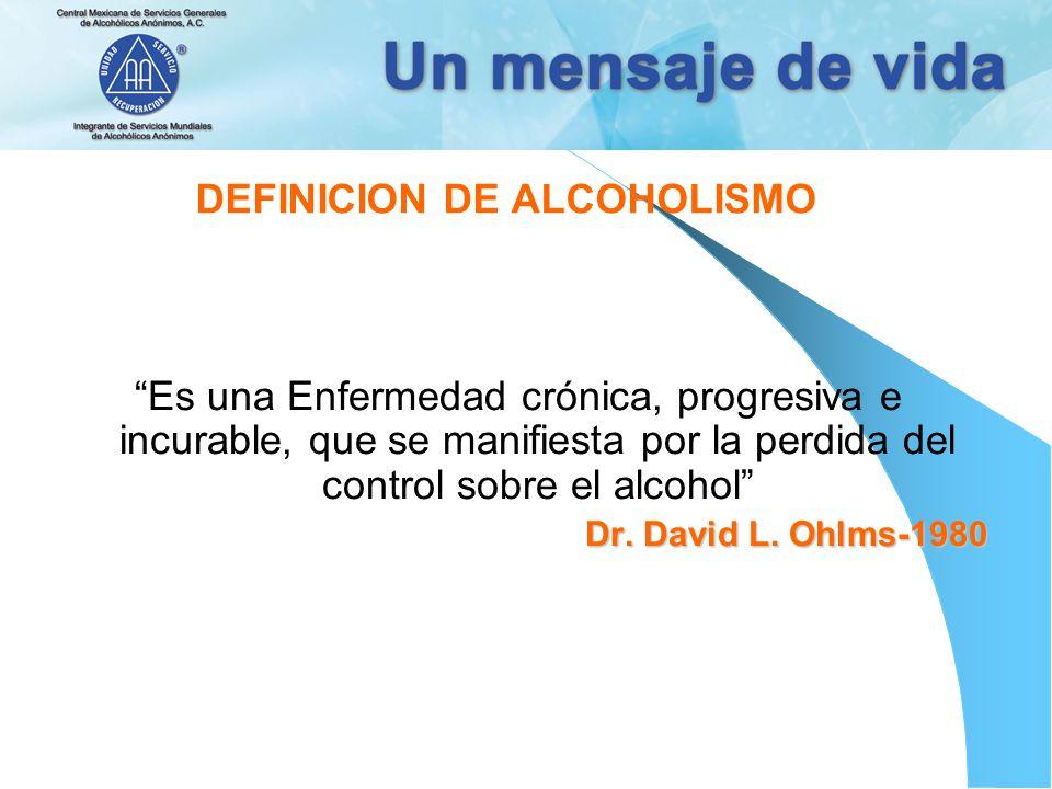 DEFINICION DE ALCOHOLISMO Es una Enfermedad crónica, progresiva e incurable, que se manifiesta por la perdida del control sobre el alcohol Dr. David L