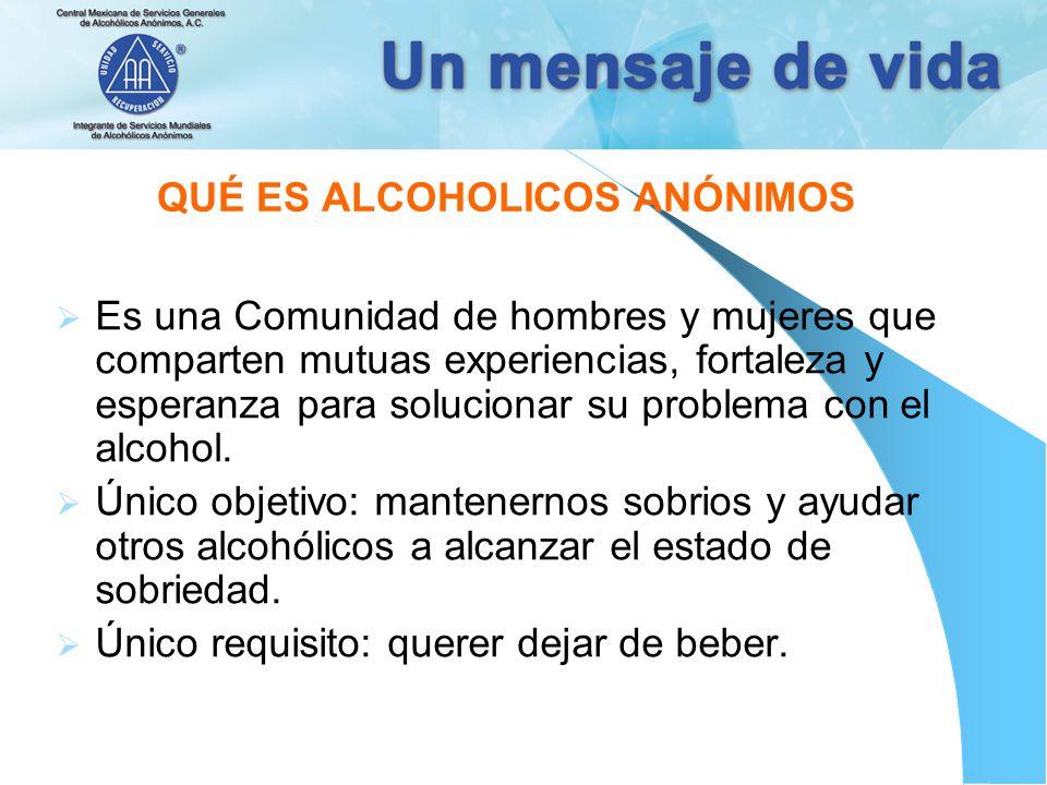 QUÉ ES ALCOHOLICOS ANÓNIMOS Es una Comunidad de hombres y mujeres que comparten mutuas experiencias, fortaleza y esperanza para solucionar su problema
