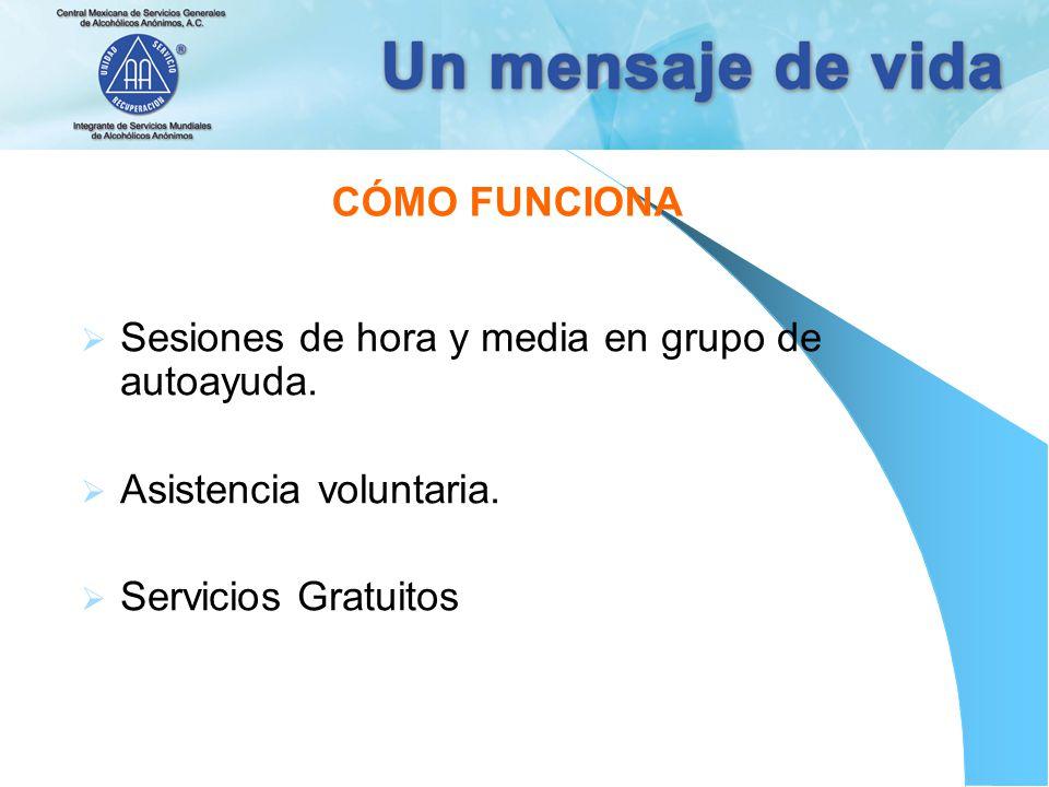 CÓMO FUNCIONA Sesiones de hora y media en grupo de autoayuda. Asistencia voluntaria. Servicios Gratuitos