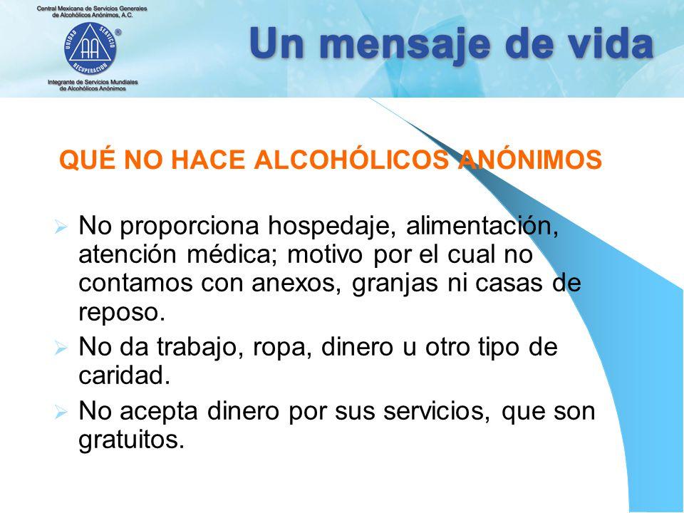 QUÉ NO HACE ALCOHÓLICOS ANÓNIMOS No proporciona hospedaje, alimentación, atención médica; motivo por el cual no contamos con anexos, granjas ni casas