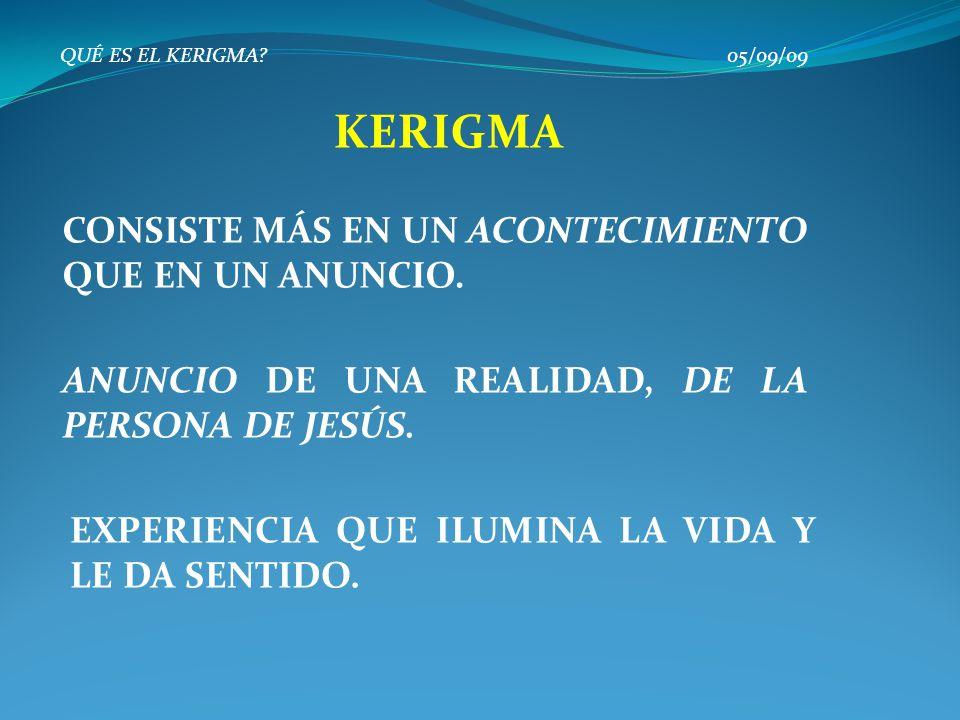 QUÉ ES EL KERIGMA? 05/09/09 CONSISTE MÁS EN UN ACONTECIMIENTO QUE EN UN ANUNCIO. KERIGMA ANUNCIO DE UNA REALIDAD, DE LA PERSONA DE JESÚS. EXPERIENCIA
