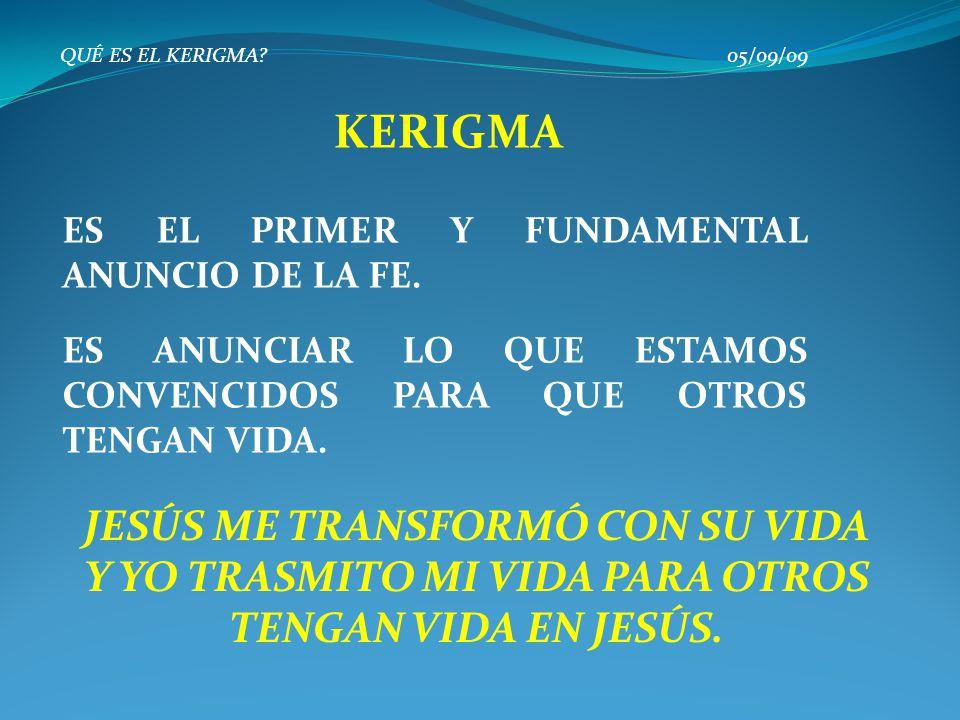QUÉ ES EL KERIGMA? 05/09/09 KERIGMA DISCÍPULO LA PERSONA DE JESÚS ANUNCIO DEL REINO DE DIOS