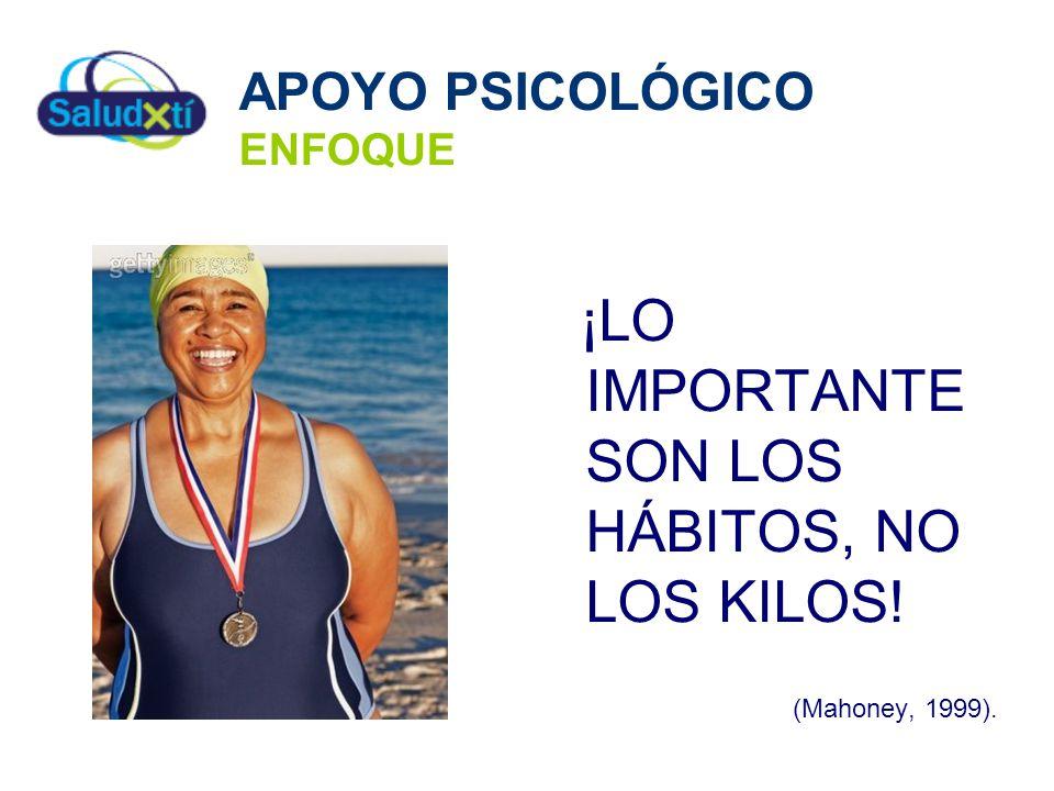 APOYO PSICOLÓGICO ENFOQUE ¡LO IMPORTANTE SON LOS HÁBITOS, NO LOS KILOS! (Mahoney, 1999).