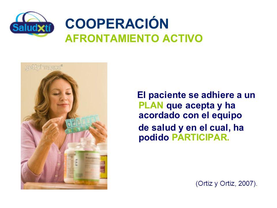 COOPERACIÓN AFRONTAMIENTO ACTIVO El paciente se adhiere a un PLAN que acepta y ha acordado con el equipo de salud y en el cual, ha podido PARTICIPAR.