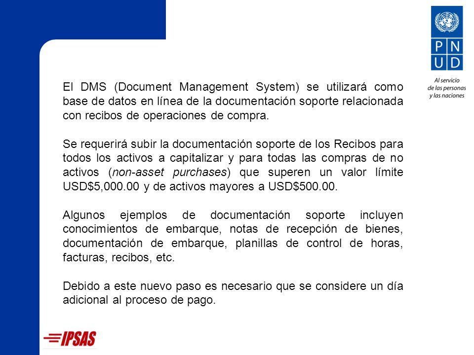 El DMS (Document Management System) se utilizará como base de datos en línea de la documentación soporte relacionada con recibos de operaciones de compra.