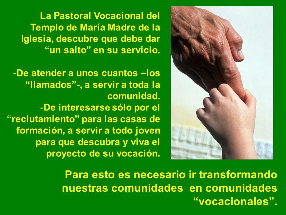 La Pastoral Vocacional del Templo de María Madre de la Iglesia, descubre que debe dar un salto en su servicio. -De atender a unos cuantos –los llamado