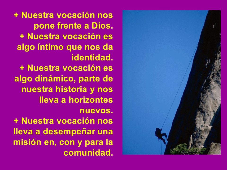 + Nuestra vocación nos pone frente a Dios. + Nuestra vocación es algo íntimo que nos da identidad. + Nuestra vocación es algo dinámico, parte de nuest