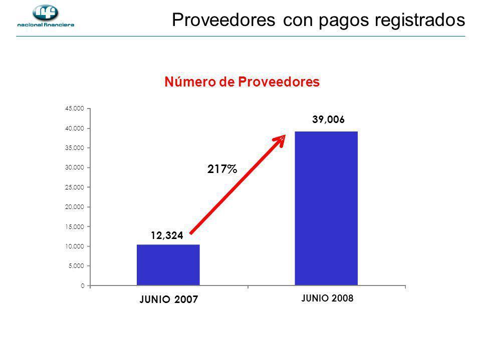 Número de Proveedores Proveedores con pagos registrados 12,324 39,006 0 5,000 10,000 15,000 20,000 25,000 30,000 35,000 40,000 45,000 JUNIO 2007 JUNIO 2008 217%