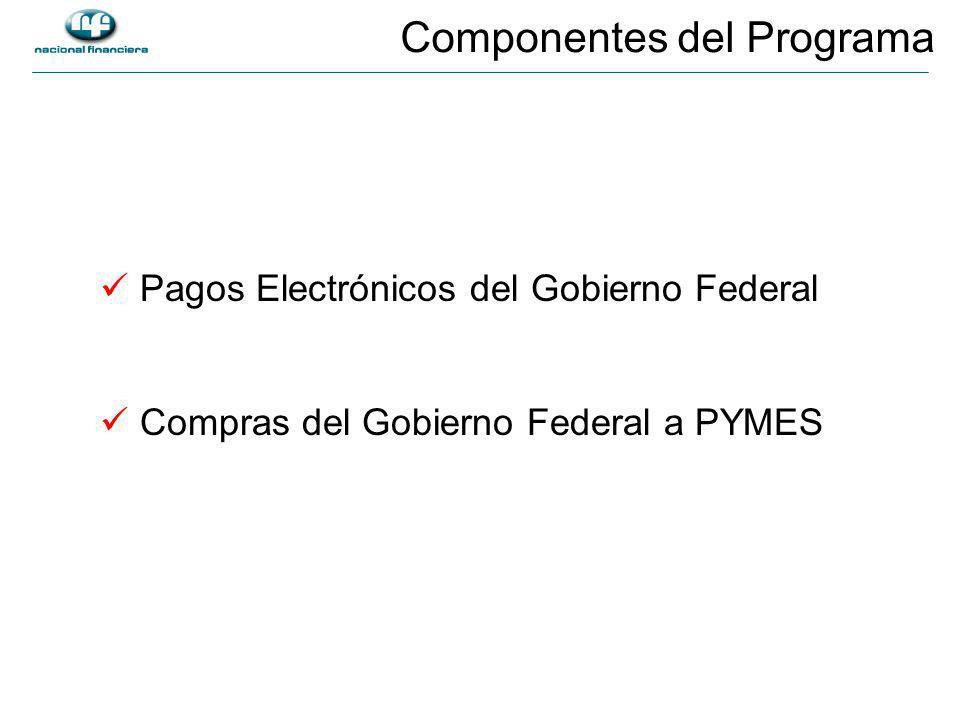 Pagos Electrónicos del Gobierno Federal Compras del Gobierno Federal a PYMES Componentes del Programa