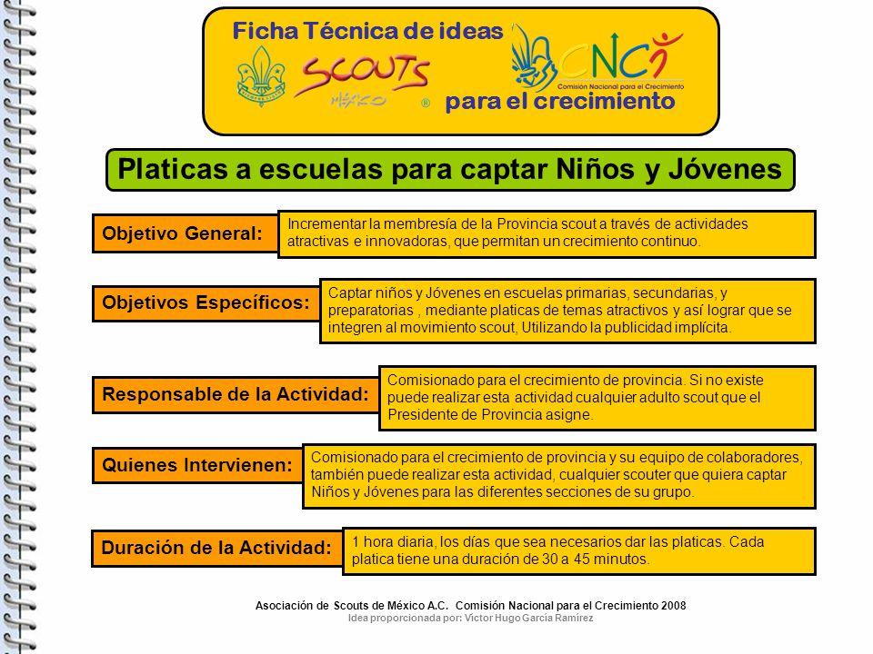 Ficha Técnica de ideas para el crecimiento Platicas a escuelas para captar Niños y Jóvenes Objetivo General: Incrementar la membresía de la Provincia