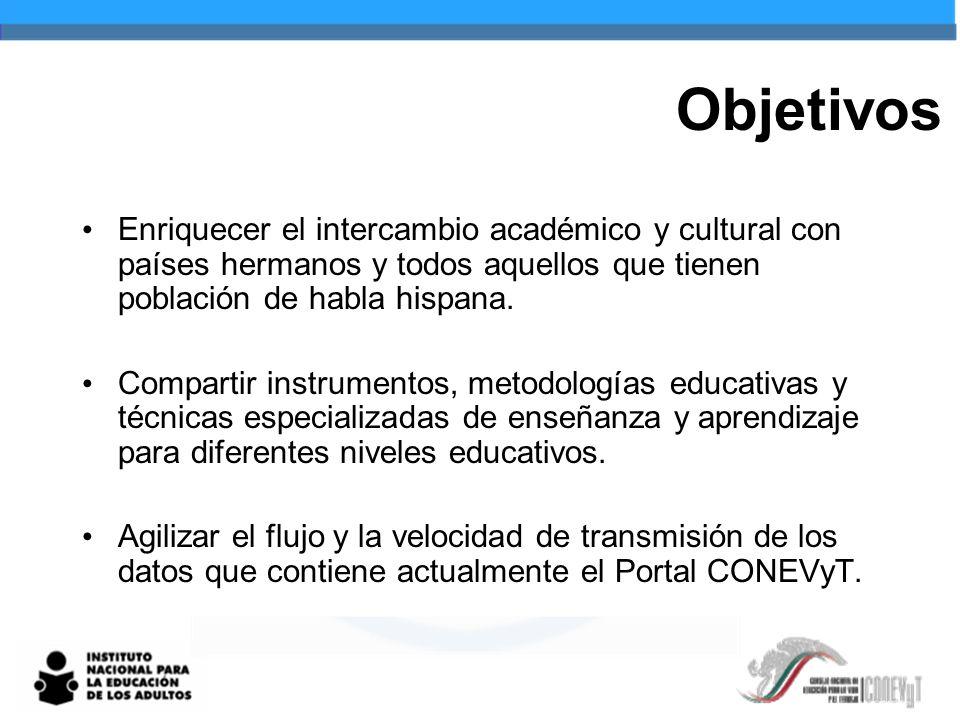 Objetivos Enriquecer el intercambio académico y cultural con países hermanos y todos aquellos que tienen población de habla hispana. Compartir instrum