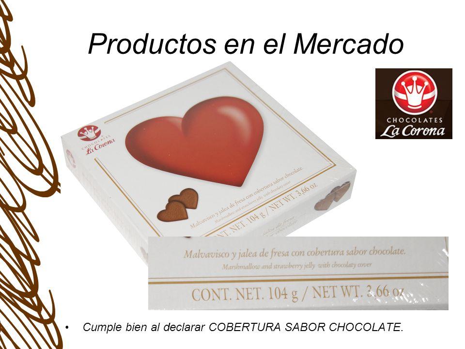Productos en el Mercado Cumple bien al declarar COBERTURA SABOR CHOCOLATE.
