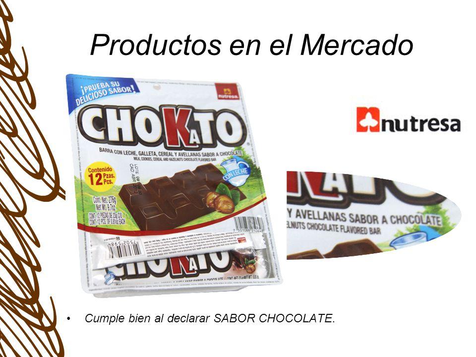Productos en el Mercado Cumple bien al declarar SABOR CHOCOLATE.
