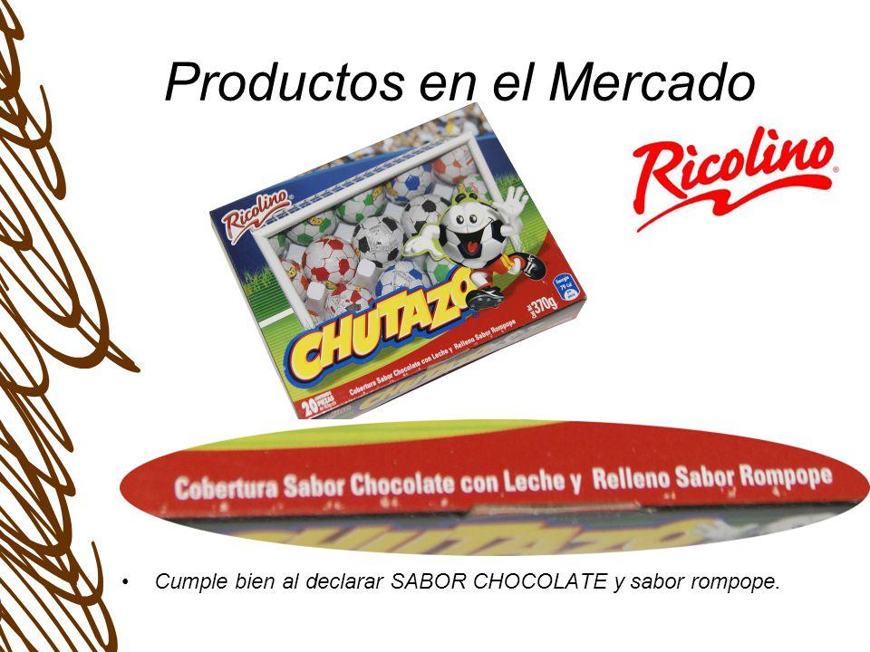 Productos en el Mercado Cumple bien al declarar SABOR CHOCOLATE y sabor rompope.