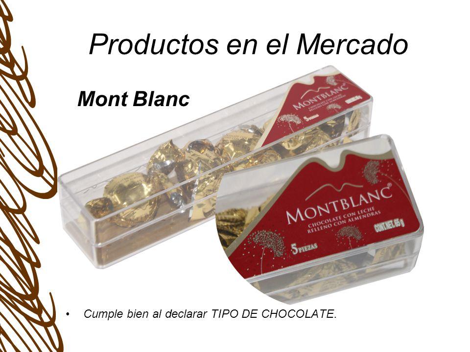 Productos en el Mercado Cumple bien al declarar TIPO DE CHOCOLATE. Mont Blanc