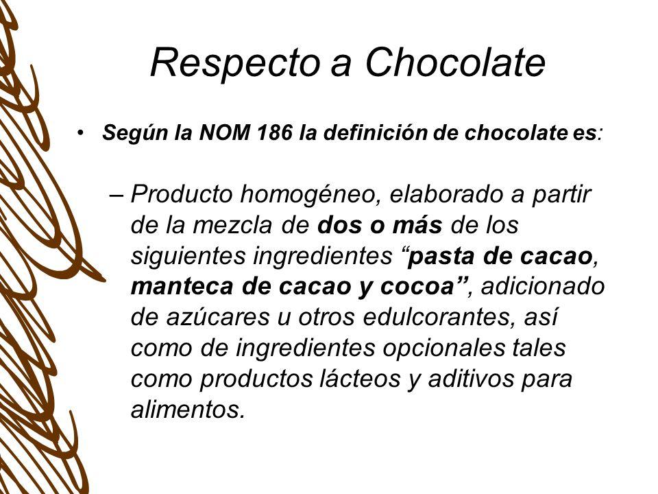 Respecto a Chocolate Según la NOM 186 la definición de chocolate es: –Producto homogéneo, elaborado a partir de la mezcla de dos o más de los siguientes ingredientes pasta de cacao, manteca de cacao y cocoa, adicionado de azúcares u otros edulcorantes, así como de ingredientes opcionales tales como productos lácteos y aditivos para alimentos.
