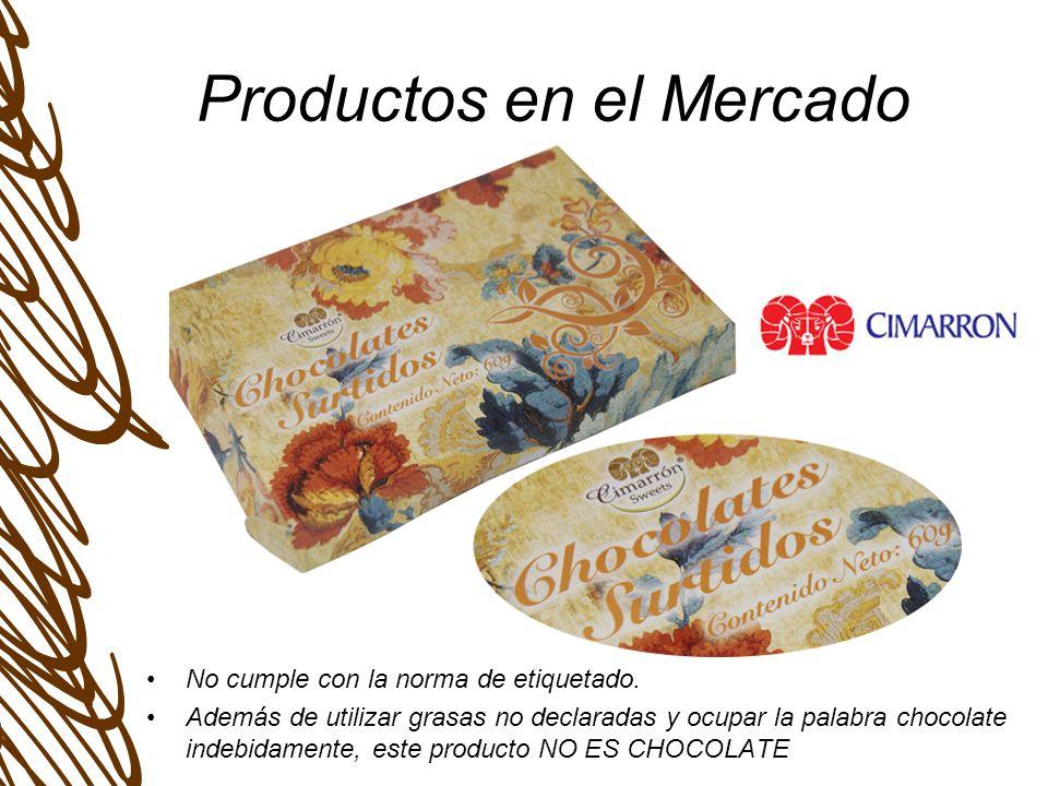 Productos en el Mercado Cumple bien al declarar TIPO DE CHOCOLATE.