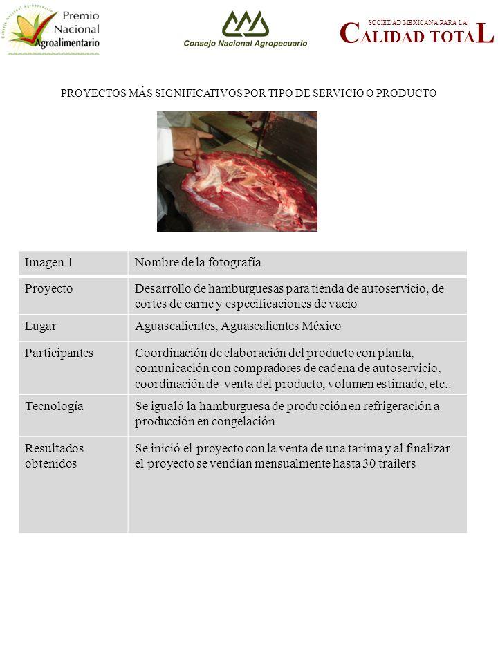 PROYECTOS MÁS SIGNIFICATIVOS POR TIPO DE SERVICIO O PRODUCTO C ALIDAD TOTA L SOCIEDAD MEXICANA PARA LA FOTOGRAFÍA 1 Imagen 1Nombre de la fotografía ProyectoDesarrollo de hamburguesas para tienda de autoservicio, de cortes de carne y especificaciones de vacío LugarAguascalientes, Aguascalientes México ParticipantesCoordinación de elaboración del producto con planta, comunicación con compradores de cadena de autoservicio, coordinación de venta del producto, volumen estimado, etc..