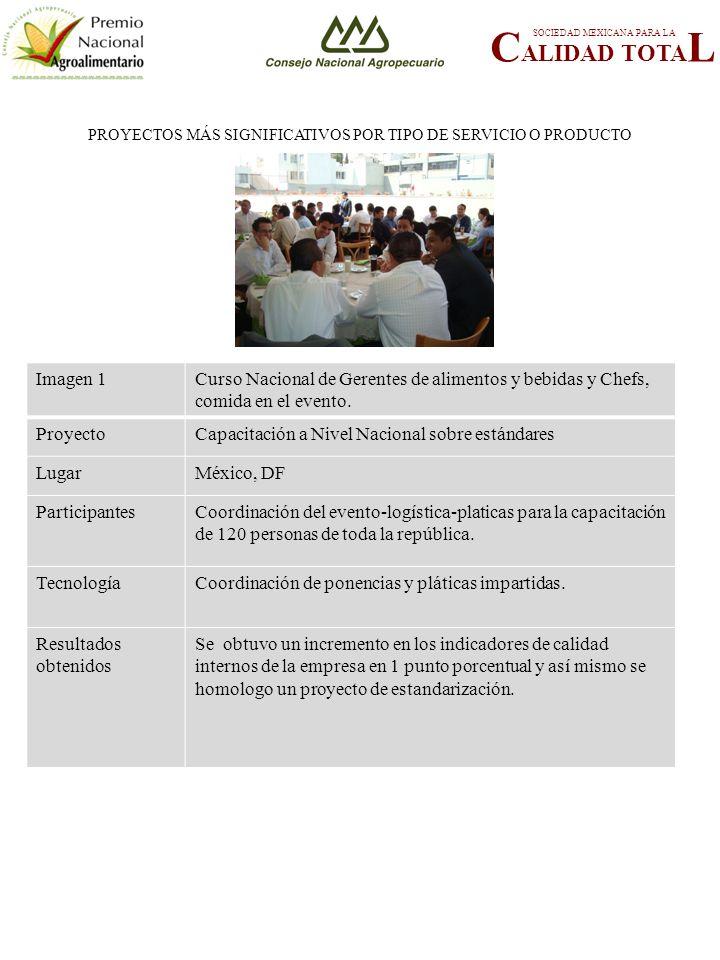 PROYECTOS MÁS SIGNIFICATIVOS POR TIPO DE SERVICIO O PRODUCTO C ALIDAD TOTA L SOCIEDAD MEXICANA PARA LA FOTOGRAFÍA 3 Imagen 1Curso Nacional de Gerentes de alimentos y bebidas y Chefs, comida en el evento.