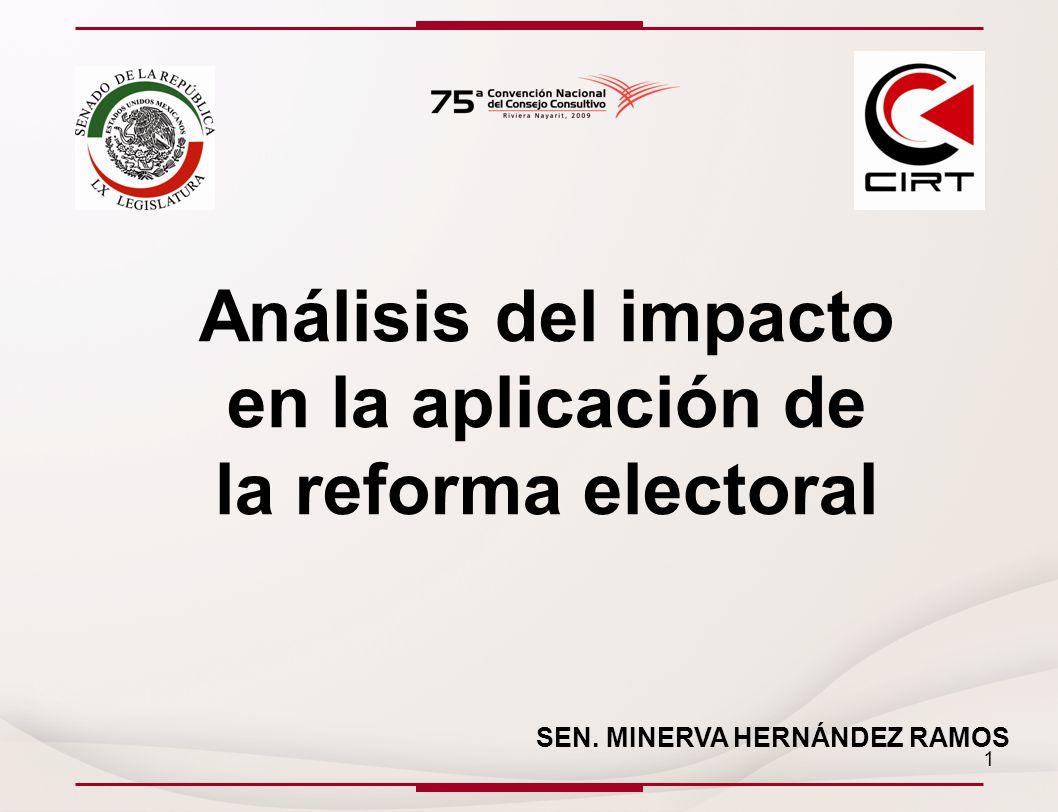 Análisis del impacto en la aplicación de la reforma electoral SEN. MINERVA HERNÁNDEZ RAMOS 1