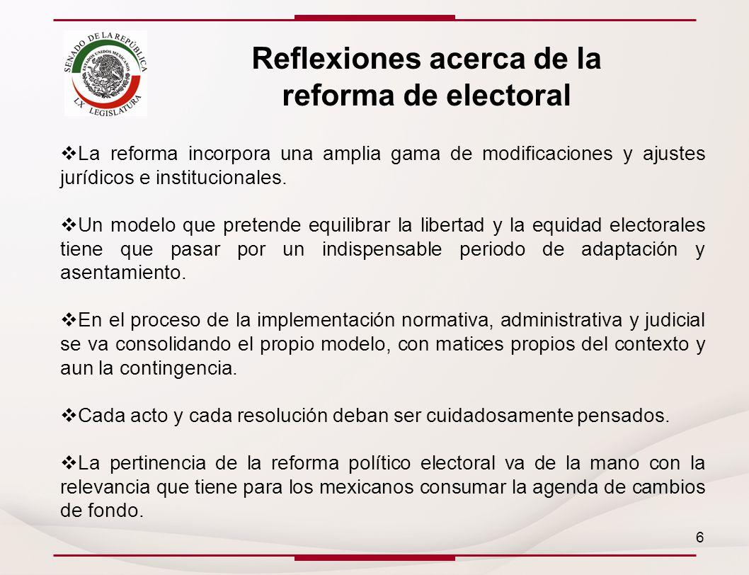 Reflexiones acerca de la reforma de electoral La reforma incorpora una amplia gama de modificaciones y ajustes jurídicos e institucionales.