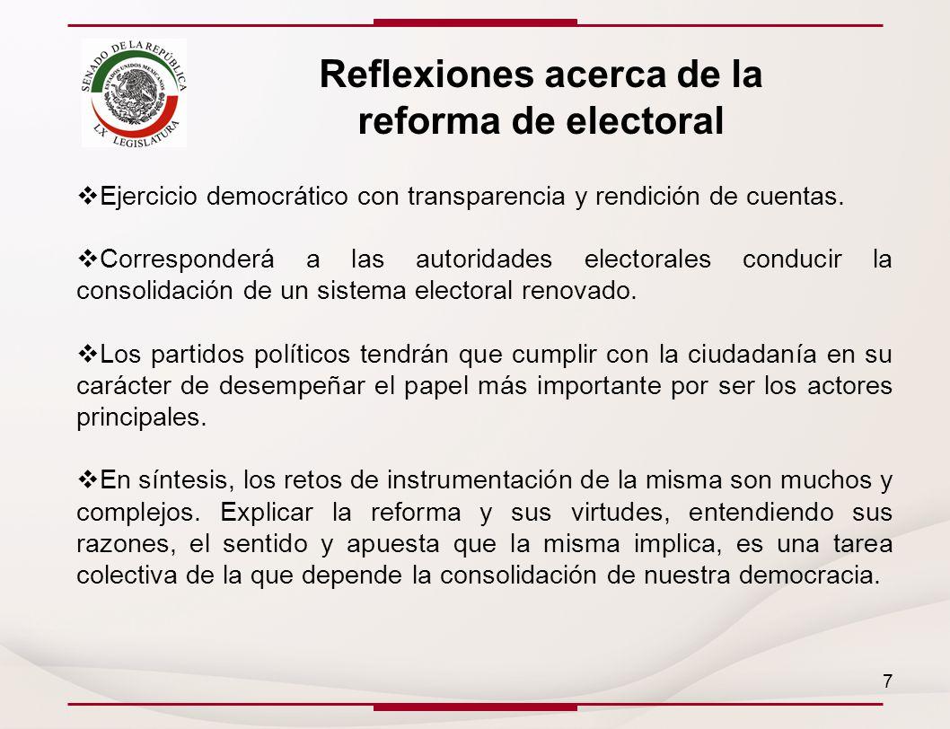 Reflexiones acerca de la reforma de electoral Ejercicio democrático con transparencia y rendición de cuentas.