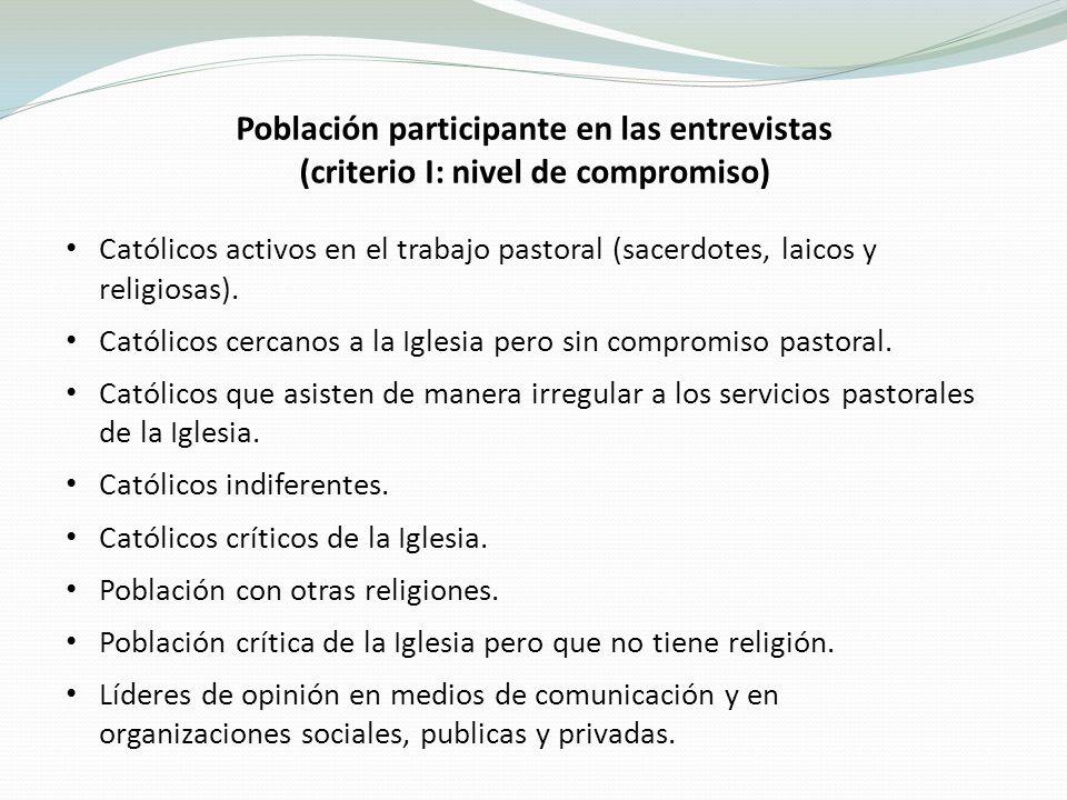 Población participante en las entrevistas (criterio I: nivel de compromiso) Católicos activos en el trabajo pastoral (sacerdotes, laicos y religiosas).