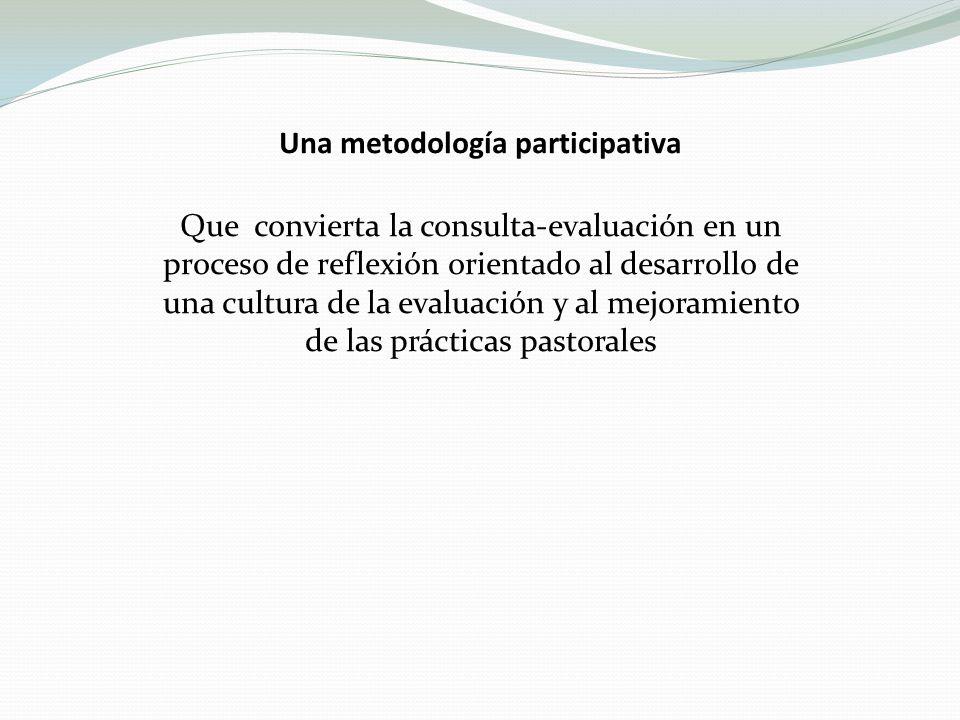 Una metodología participativa Que convierta la consulta-evaluación en un proceso de reflexión orientado al desarrollo de una cultura de la evaluación y al mejoramiento de las prácticas pastorales