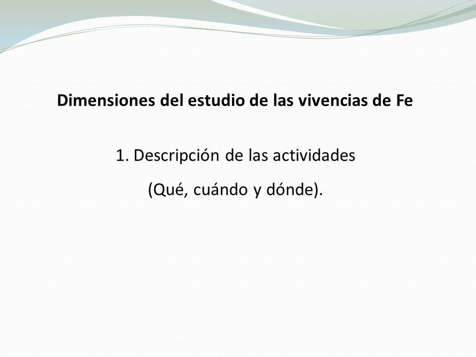 Dimensiones del estudio de las vivencias de Fe 1.Descripción de las actividades (Qué, cuándo y dónde).