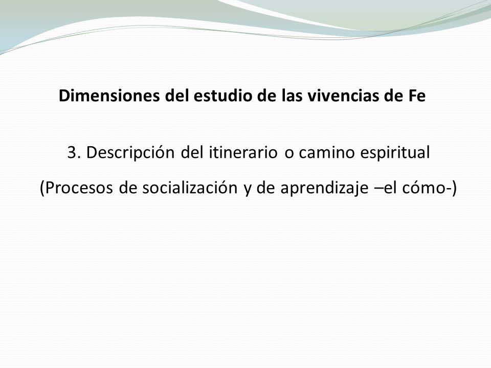 Dimensiones del estudio de las vivencias de Fe 3.