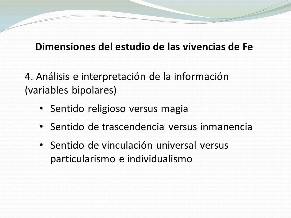 Dimensiones del estudio de las vivencias de Fe 4.