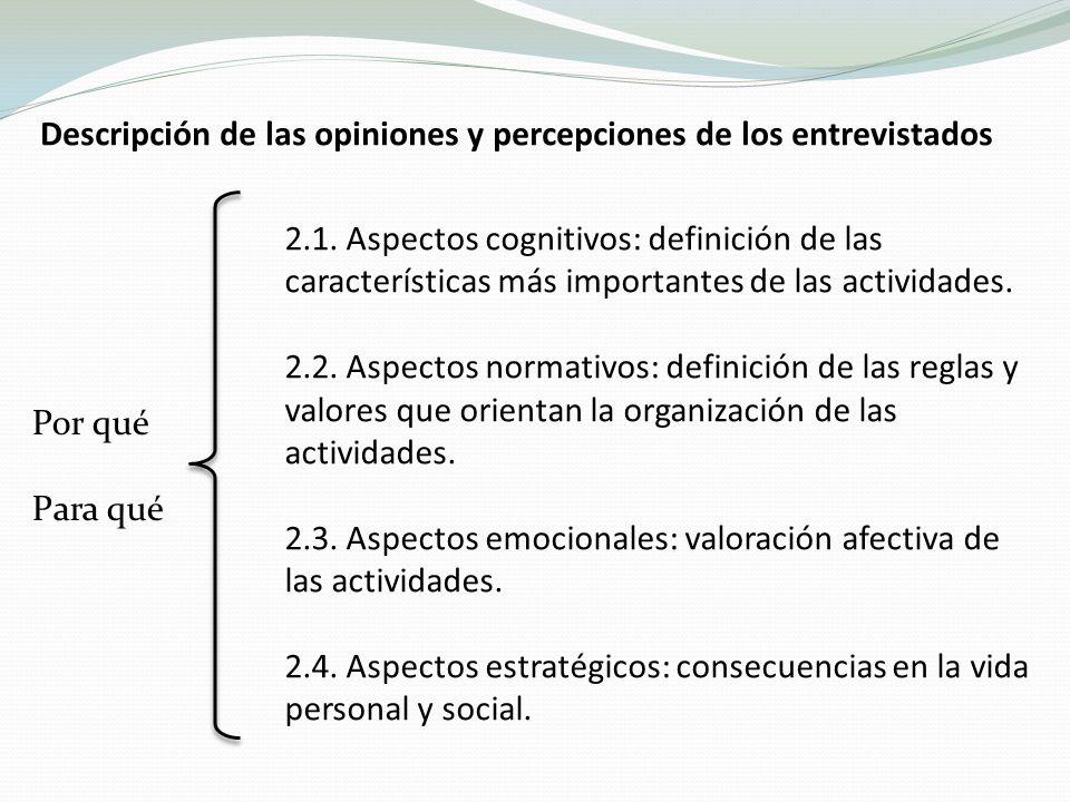 Descripción de las opiniones y percepciones de los entrevistados Por qué Para qué 2.1.