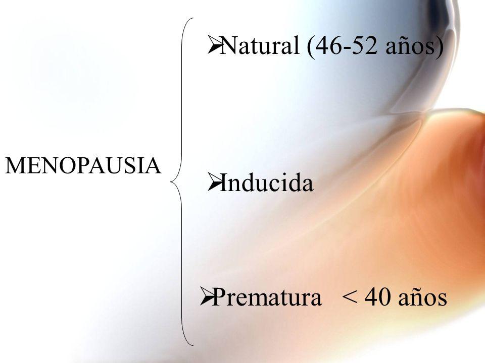 MENOPAUSIA Natural (46-52 años) Inducida Prematura < 40 años
