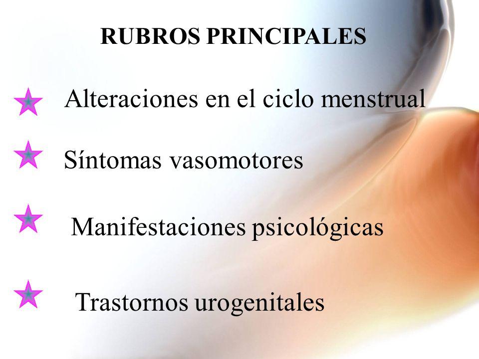Alteraciones en el ciclo menstrual Síntomas vasomotores Manifestaciones psicológicas Trastornos urogenitales RUBROS PRINCIPALES
