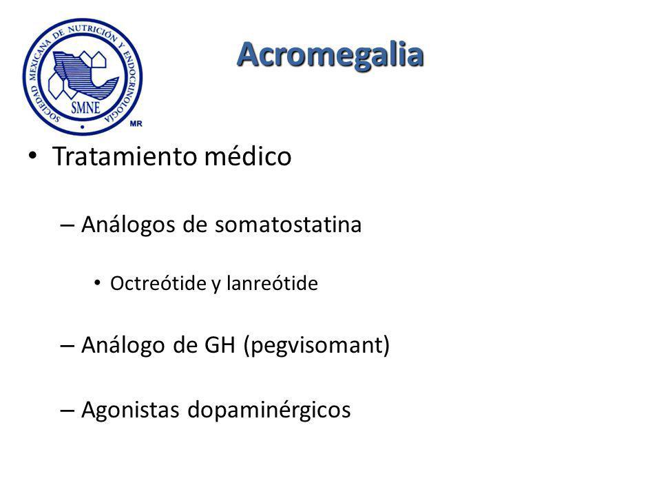 Acromegalia Tratamiento médico – Análogos de somatostatina Octreótide y lanreótide – Análogo de GH (pegvisomant) – Agonistas dopaminérgicos