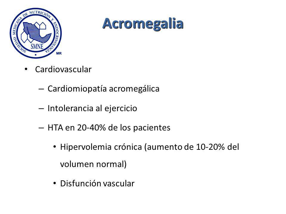 Acromegalia Cardiovascular – Cardiomiopatía acromegálica – Intolerancia al ejercicio – HTA en 20-40% de los pacientes Hipervolemia crónica (aumento de