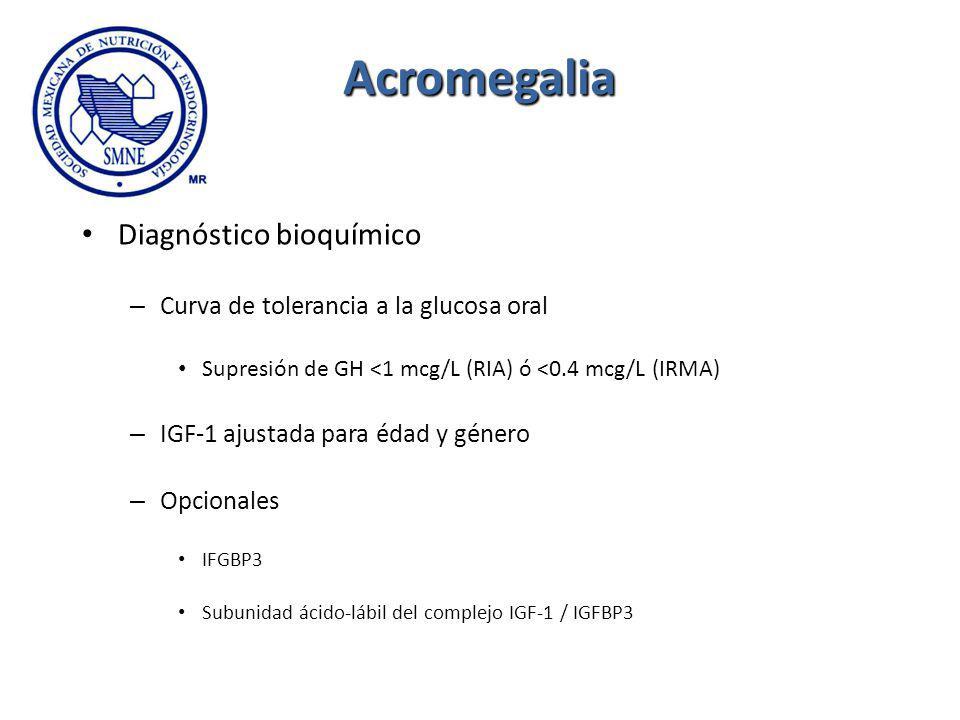 Acromegalia Diagnóstico bioquímico – Curva de tolerancia a la glucosa oral Supresión de GH <1 mcg/L (RIA) ó <0.4 mcg/L (IRMA) – IGF-1 ajustada para éd