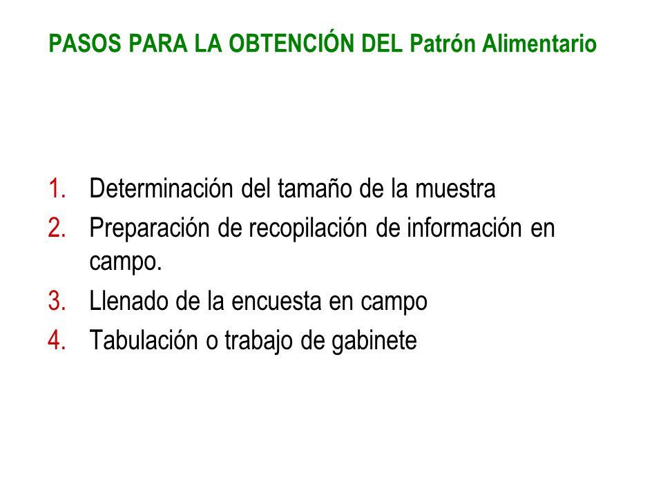 PASOS PARA LA OBTENCIÓN DEL Patrón Alimentario 1.Determinación del tamaño de la muestra 2.Preparación de recopilación de información en campo. 3.Llena