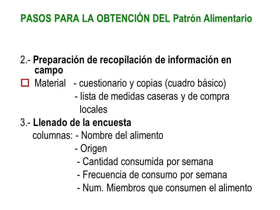 2.- Preparación de recopilación de información en campo Material - cuestionario y copias (cuadro básico) - lista de medidas caseras y de compra locale