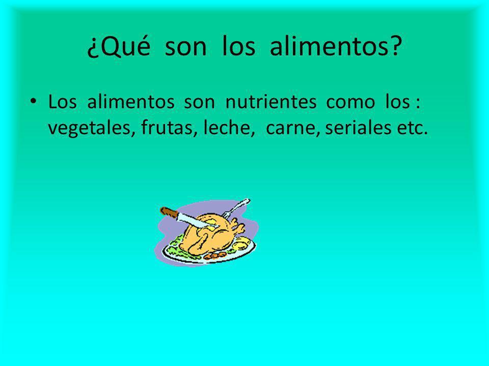 ¿Qué son los alimentos? Los alimentos son nutrientes como los : vegetales, frutas, leche, carne, seriales etc.