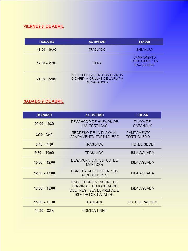 VIERNES 8 DE ABRIL HORARIOACTIVIDADLUGAR 18:30 – 19:00TRASLADOSABANCUY 19:00 – 21:00CENA CAMPAMENTO TORTUGERO LA ESCOLLERA 21:00 – 22:00 ARRIBO DE LA TORTUGA BLANCA O CAREY A ORILLAS DE LA PLAYA DE SABANCUY SABADO 9 DE ABRIL HORARIOACTIVIDADLUGAR 00:00 – 3:30 DESAHOGO DE HUEVOS DE LAS TORTUGAS PLAYA DE SABANCUY 3:30 - 3:45 REGRESO DE LA PLAYA AL CAMPAMENTO TORTUGUERO CAMPAMENTO TORTUGUERO 3:45 – 4:30TRASLADOHOTEL SEDE 9:30 – 10:00TRASLADOISLA AGUADA 10:00 – 12:00 DESAYUNO (ANTOJITOS DE MARISCO) ISLA AGUADA 12:00 – 13:00 LIBRE PARA CONOCER SUS ALREDEDORES ISLA AGUADA 13:00 – 15:00 PASEO POR LA LAGUNA DE TÉRMINOS, BÚSQUEDA DE DELFINES, ISLA EL ARENAL E ISLA DE LOS PÁJAROS.