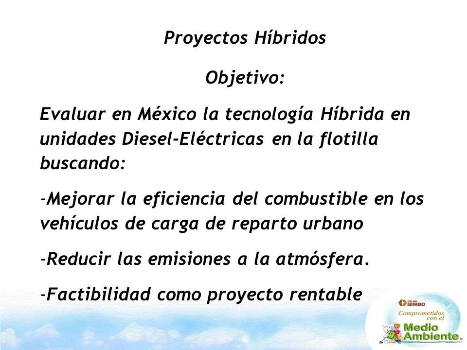 Proyectos Híbridos Objetivo: Evaluar en México la tecnología Híbrida en unidades Diesel-Eléctricas en la flotilla buscando: -Mejorar la eficiencia del combustible en los vehículos de carga de reparto urbano -Reducir las emisiones a la atmósfera.