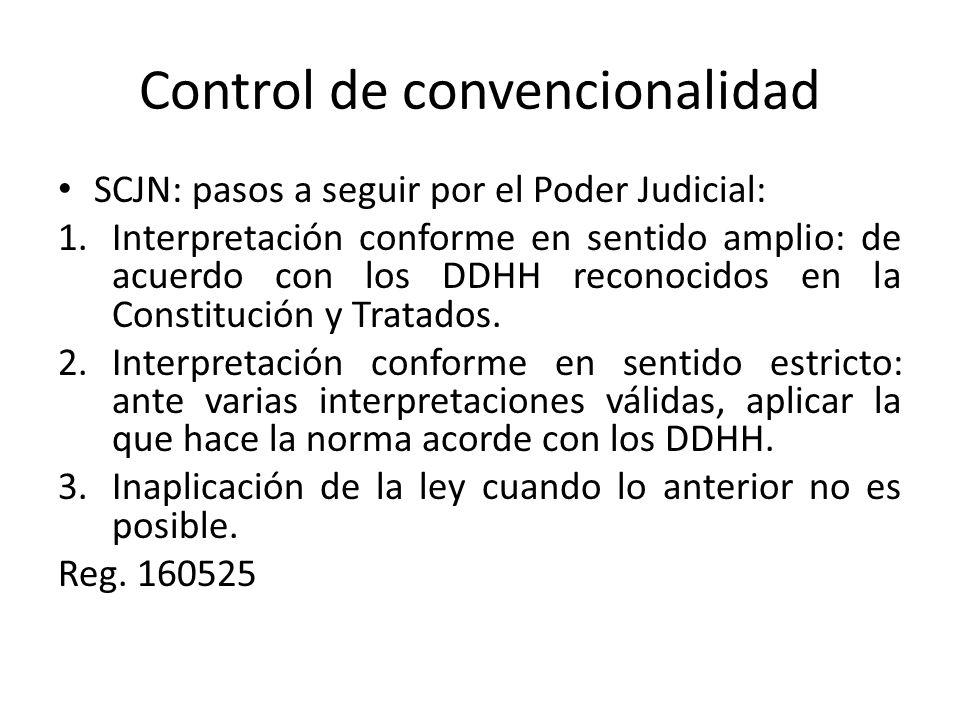 Control de convencionalidad SCJN: pasos a seguir por el Poder Judicial: 1.Interpretación conforme en sentido amplio: de acuerdo con los DDHH reconocidos en la Constitución y Tratados.