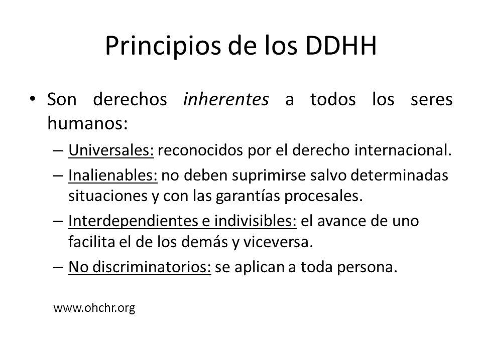 Principios de los DDHH Son derechos inherentes a todos los seres humanos: – Universales: reconocidos por el derecho internacional. – Inalienables: no