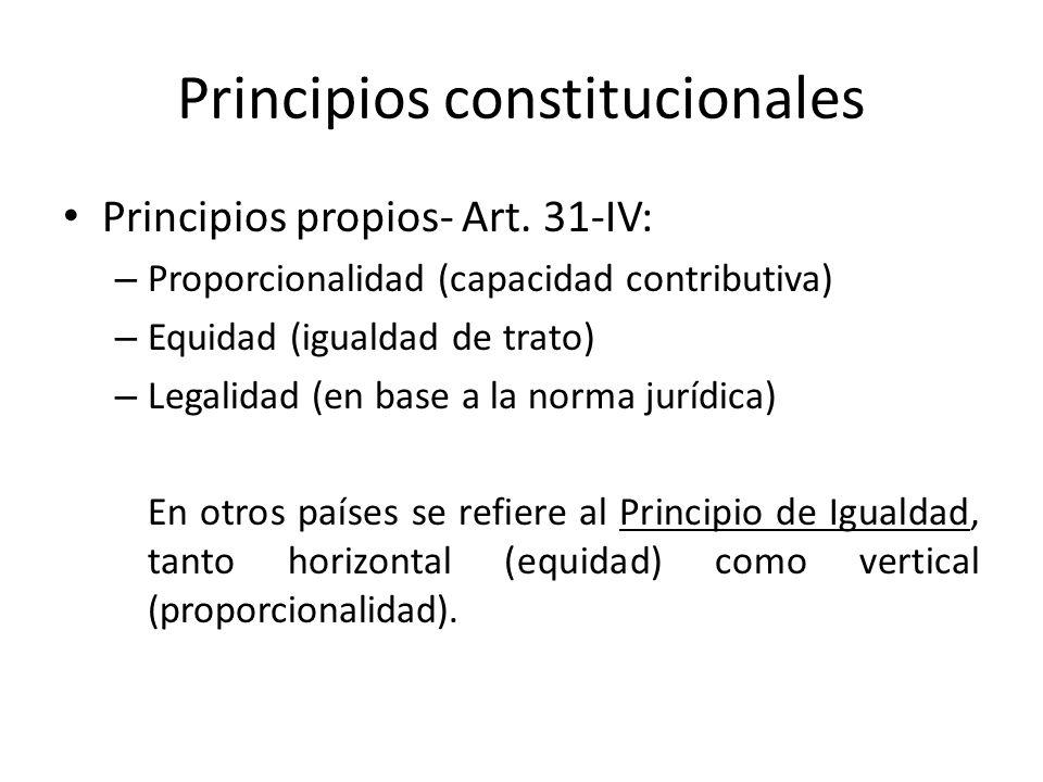Principios constitucionales Principios propios- Art. 31-IV: – Proporcionalidad (capacidad contributiva) – Equidad (igualdad de trato) – Legalidad (en