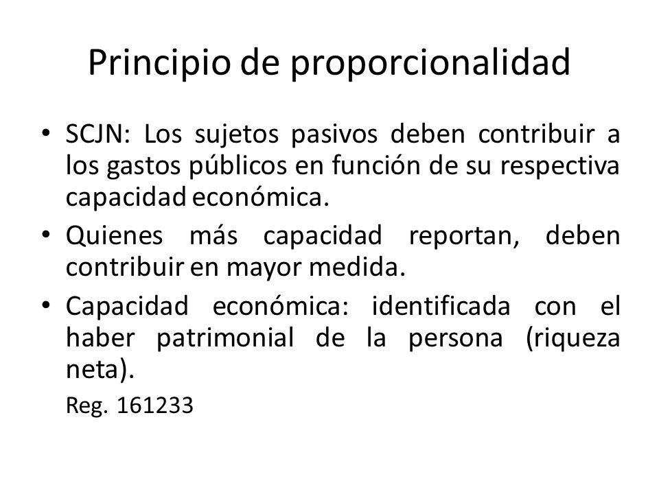 Principio de proporcionalidad SCJN: Los sujetos pasivos deben contribuir a los gastos públicos en función de su respectiva capacidad económica.
