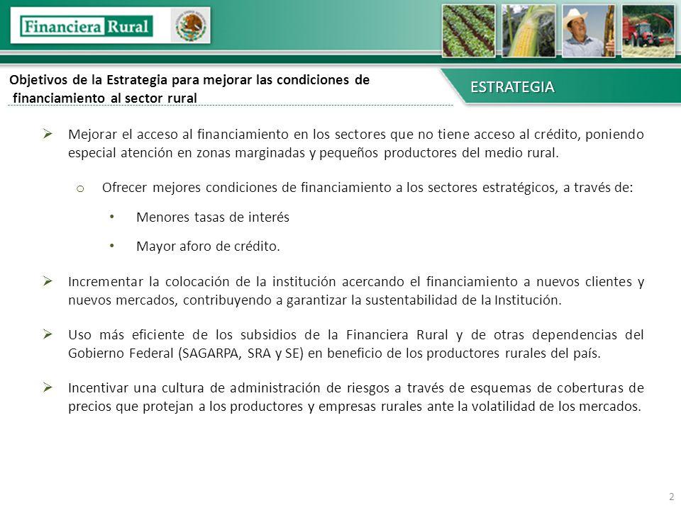 Objetivos de la Estrategia para mejorar las condiciones de financiamiento al sector rural ESTRATEGIA Mejorar el acceso al financiamiento en los sector