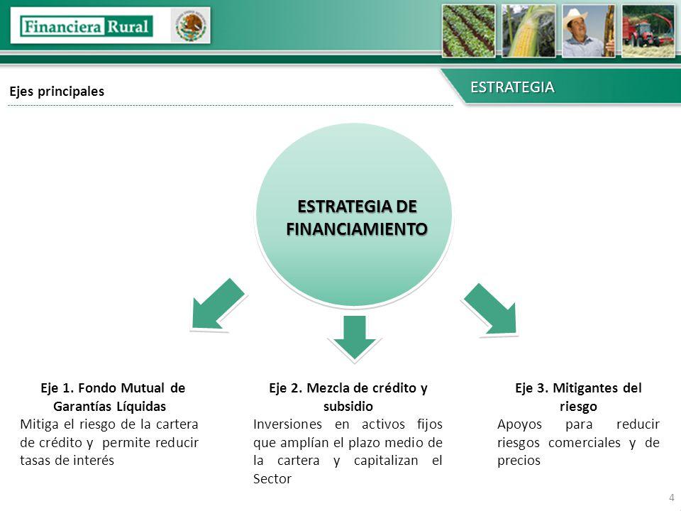 Ejes principales ESTRATEGIA ESTRATEGIA DE FINANCIAMIENTO Eje 1. Fondo Mutual de Garantías Líquidas Mitiga el riesgo de la cartera de crédito y permite