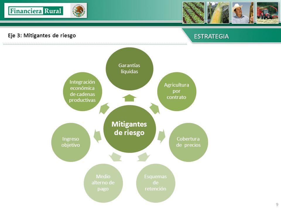 Eje 3: Mitigantes de riesgo ESTRATEGIA 9 Mitigantes de riesgo Garantías líquidas Agricultura por contrato Cobertura de precios Esquemas de retención M