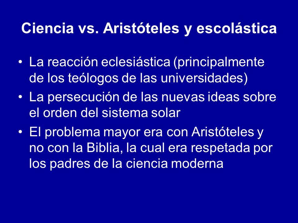 Ciencia vs. Aristóteles y escolástica La reacción eclesiástica (principalmente de los teólogos de las universidades) La persecución de las nuevas idea